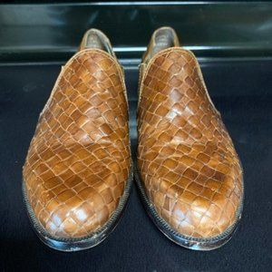 Enzo Angiolini Brown Leather Woven Flats 8…